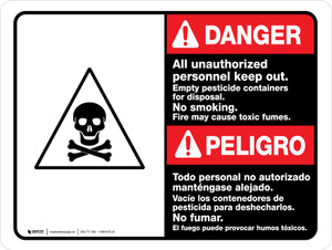 Danger: All Unauthorized Personnel Keep Out Empty Bilingual ANSI Landscape - Wall Sign