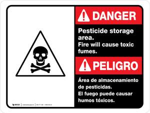 Danger: Pesticide Storage Area Fire Bilingual ANSI Landscape - Wall Sign