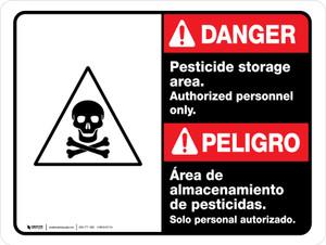 Danger: Pesticide Storage Area Personnel Only Bilingual ANSI Landscape - Wall Sign