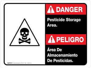 Danger: Pesticide Storage Area Bilingual ANSI Landscape - Wall Sign