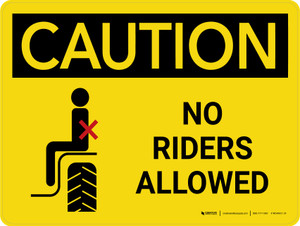 Caution: No Riders Allowed Landscape - Wall Sign
