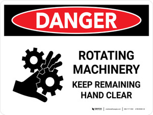 Danger: Rotating Machinery Keep Remaining Landscape - Wall Sign