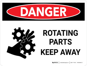 Danger: Rotating Parts Keep Away Landscape - Wall Sign