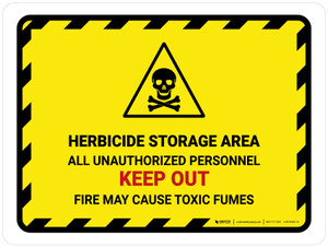 Herbicide Storage Area All Unauthorized Landscape - Wall Sign