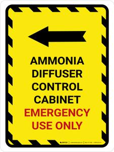 Ammonia Diffuser Control Cabinet Left Arrow Portrait - Wall Sign