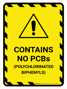 Contains No Polychlorinated Biphenyls Portrait - Wall Sign