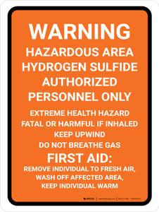 Hazardous Area Hydrogen Sulfide Portrait - Wall Sign