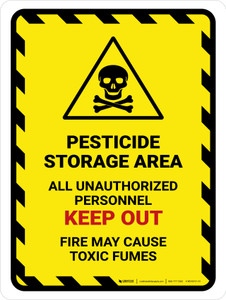 Pesticide Storage Area All Unauthorized Portrait - Wall Sign