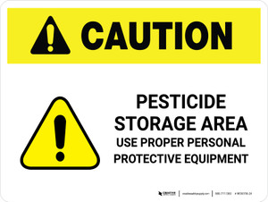 Caution: Pesticide Storage Area Use PPE Landscape - Wall Sign