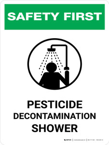 Safety First: Pesticide Decontamination Shower Portrait - Wall Sign