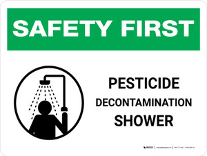 Safety First: Pesticide Decontamination Shower Landscape - Wall Sign