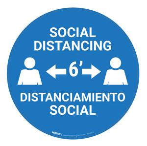 Social Distancing - Bilingual - Carpet Sign