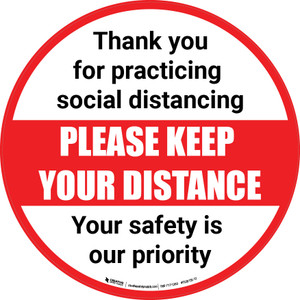 Social Distancing - Please Keep Your Distance Circle - Carpet Sign