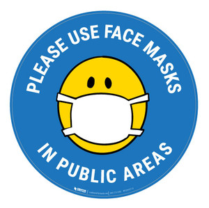 Please Use Face Masks In Public Areas with Facemask Emoji - Light Blue - Carpet Sign