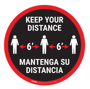Keep Your Distance-Red/Black - Bilingual - Carpet Sign