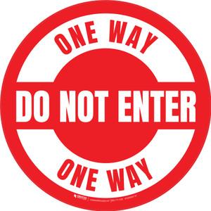 Do Not Enter One Way Circular (Red/White) - Carpet Sign