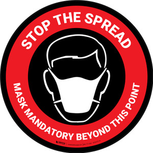 Stop The Spread - Mask Mandatory with Icon Red Circular - Carpet Sign
