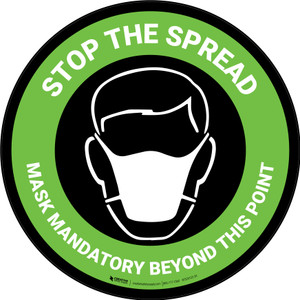 Stop The Spread - Mask Mandatory with Icon Green Circular - Carpet Sign
