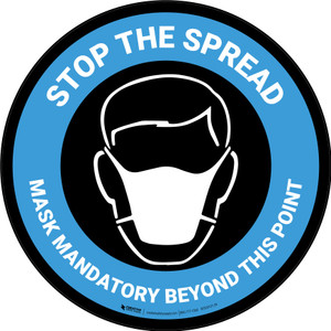 Stop The Spread - Mask Mandatory with Icon Blue Circular - Carpet Sign