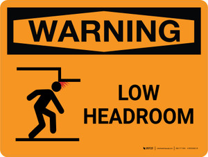 Warning: Low Headroom Landscape With Icon - Wall Sign
