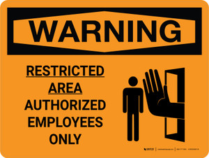 Warning: Restricted Area - Authorized Employees Only Landscape With Icon - Wall Sign