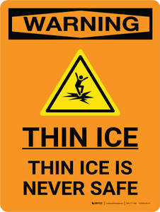 Warning: Thin Ice Is Never Safe Portrait With Icon
