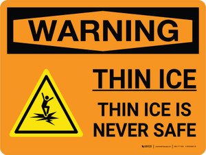 Warning: Thin Ice Is Never Safe Landscape With Icons - Wall Sign