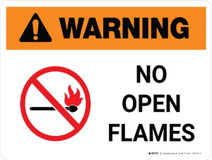 Warning: No Open Flames Landscape With Icon - Wall Sign