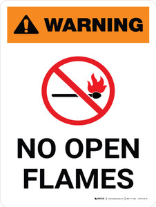 Warning: No Open Flames Portrait With Icon - Wall Sign