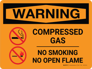 Warning: Compresses Gas No Smoking Open Flame Landscape With Icon - Wall Sign