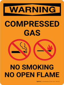 Warning: Compresses Gas No Smoking Open Flame Portrait With Icon - Wall Sign