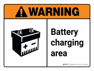 Warning: Ansi Battery Charging Area With Icon Landscape With Icon - Wall Sign