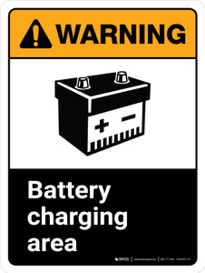 Warning: Ansi Battery Charging Area With Icon Portrait With Icon - Wall Sign