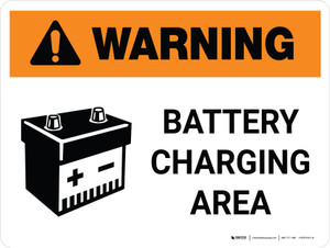 Warning: Battery Charging Area Landscape With Icon - Wall Sign