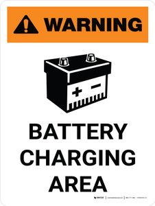 Warning: Battery Charging Area Portrait With Icon - Wall Sign
