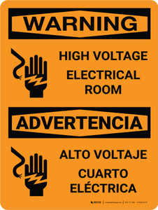 Warning: High Voltage Electrical Room Bilingual Portrait With Icon - Wall Sign