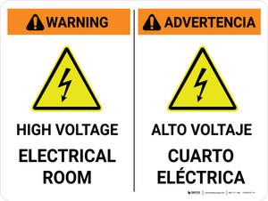 Warning: High Voltage Electrical Room Bilingual Spanish Landscape