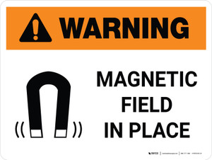 Warning: Magnetic Field In Place Landscape With Icon - Wall Sign