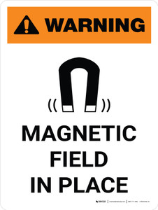 Warning: Magnetic Field In Place Portrait With Icon - Wall Sign