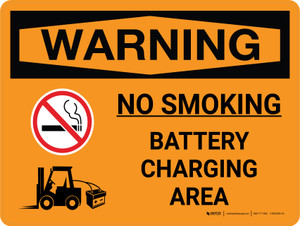 Warning: Battery Charging No Smoking Landscape With Icon - Wall Sign