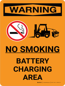 Warning: Battery Charging No Smoking Portrait With Icon - Wall Sign