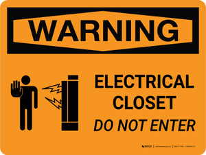 Warning: Electrical Closet - Do Not Enter Landscape With Icon - Wall Sign