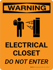 Warning: Electrical Closet - Do Not Enter Portrait With Icon - Wall Sign