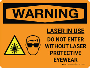 Warning: Laser Do Not Enter Without Protective Eyewear Landscape With Icon - Wall Sign