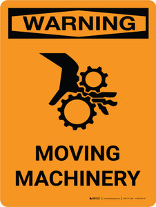 Warning: Moving Machinery Portrait With Icon - Wall Sign