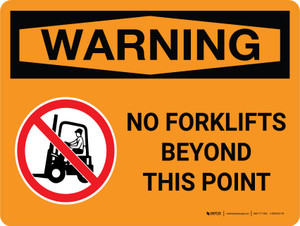 Warning: No Forklifts Beyond This Point Landscape With Icon - Wall Sign