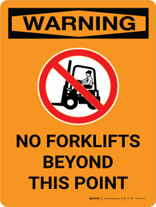Warning: No Forklifts Beyond This Point Portrait With Icon - Wall Sign