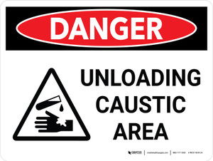Danger: Unloading Caustic Area Landscape With Icon - Wall Sign