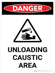 Danger: Unloading Caustic Area Portrait With Icon - Wall Sign