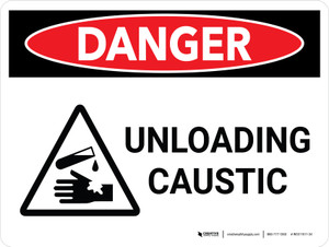 Danger: Unloading Caustic Landscape With Icon - Wall Sign